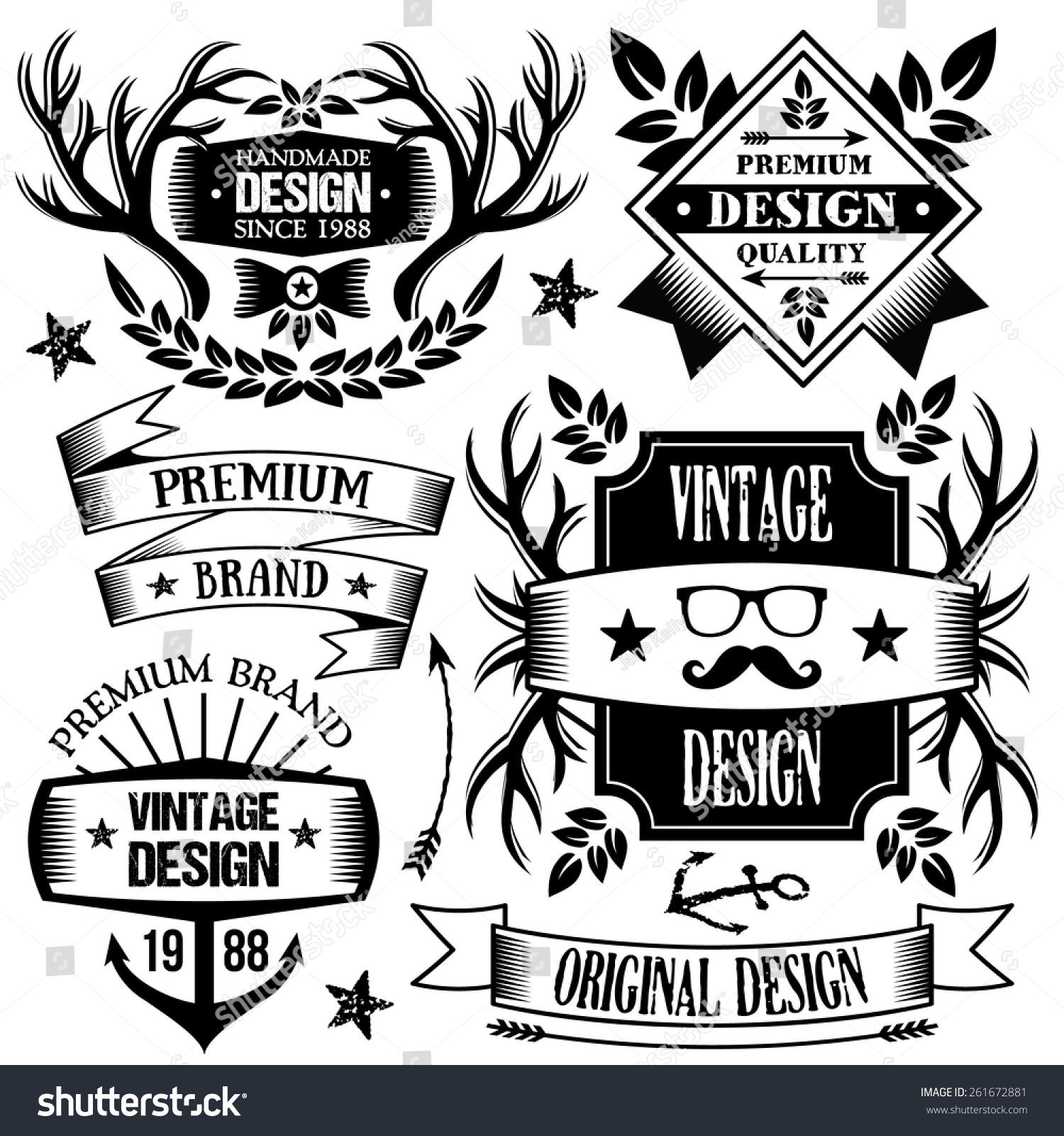 Vintage Badges Labels Ribbons Set Premium Stock Vector 261672881 ...