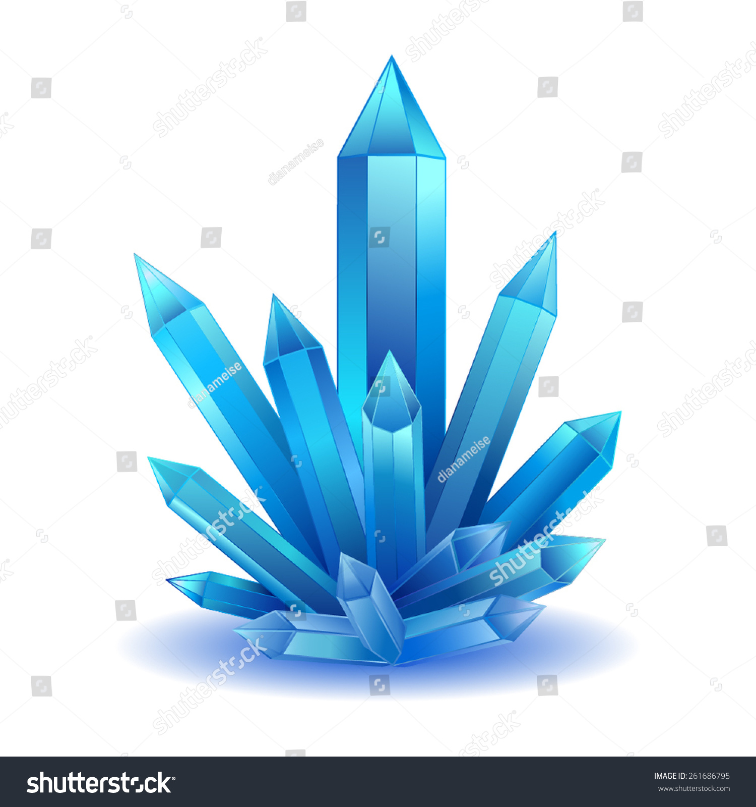 Blue Crystal Stone Isolated Vector Illustration Stock