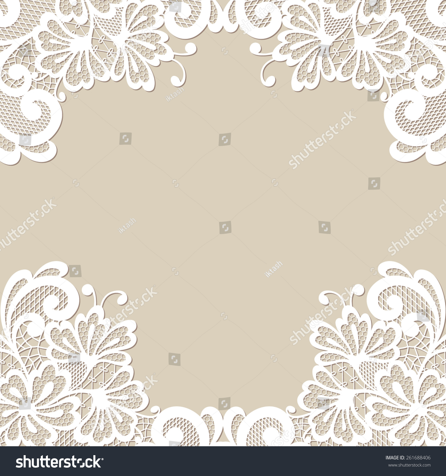 White Flower Frame Lace Mehendi Ornament Stock Vector Royalty Free