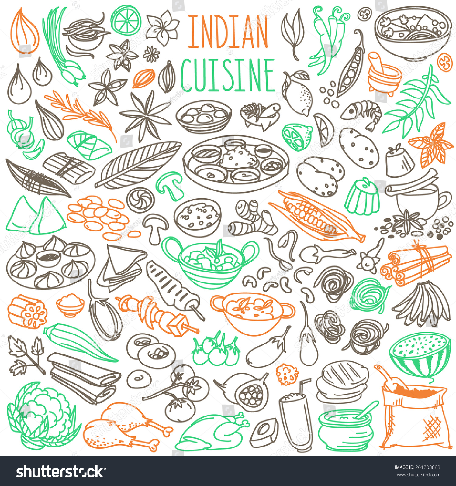 Set doodles hand drawn rough simple stock vector 261703883 for Art of indian cuisine