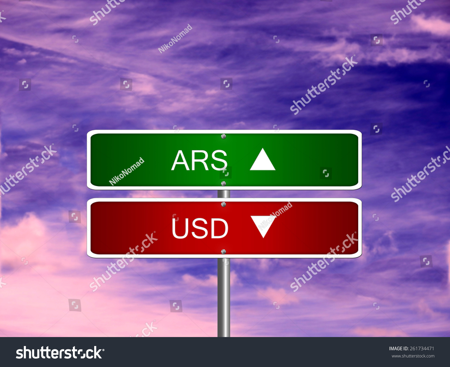 Royalty Free Ars Usd Argentina Argentine Peso Us 261734471 Stock