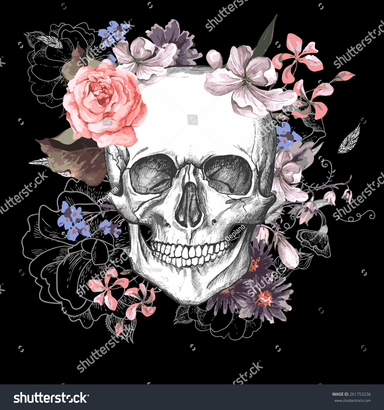 Skull Flowers Day Dead Vintage Vector Stock Vector Shutterstock