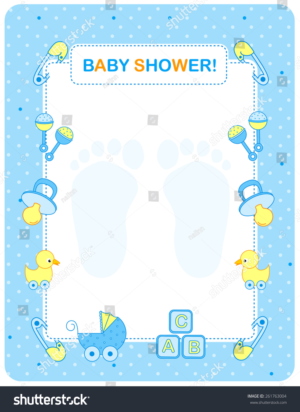 Illustration Baby Shower Invitation Card Border Stock Vector ...