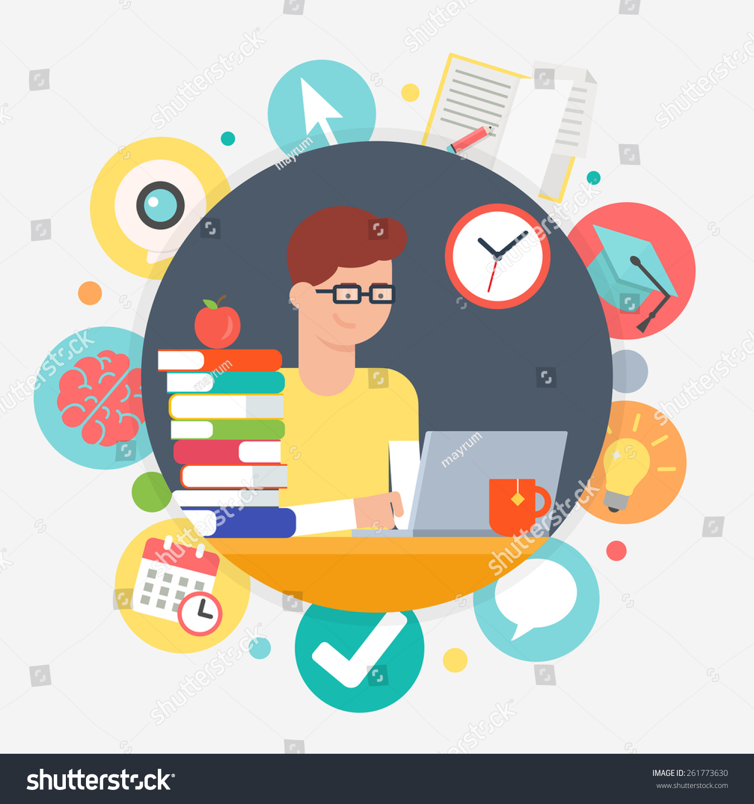 Online Education Elearning Concept Student Learning Stock Vector Royalty Free 261773630