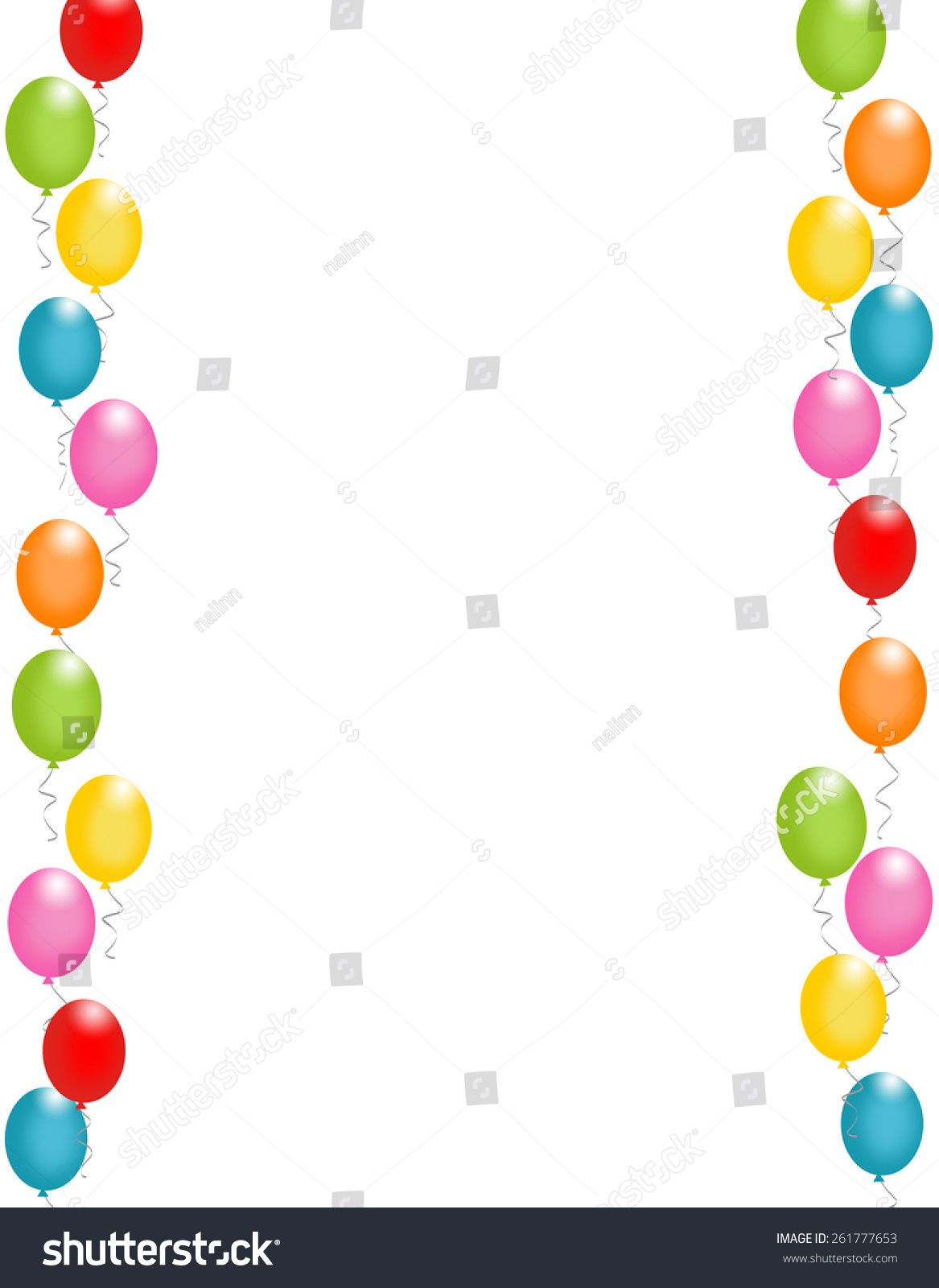 Colorful balloons border / frame illustration for birthday cards and ...