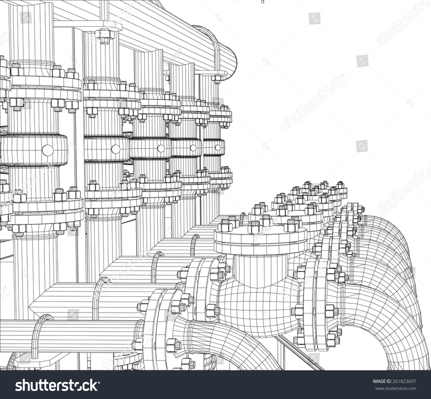 Wireframe Industrial Equipment On White Background Stock Vector HD ...