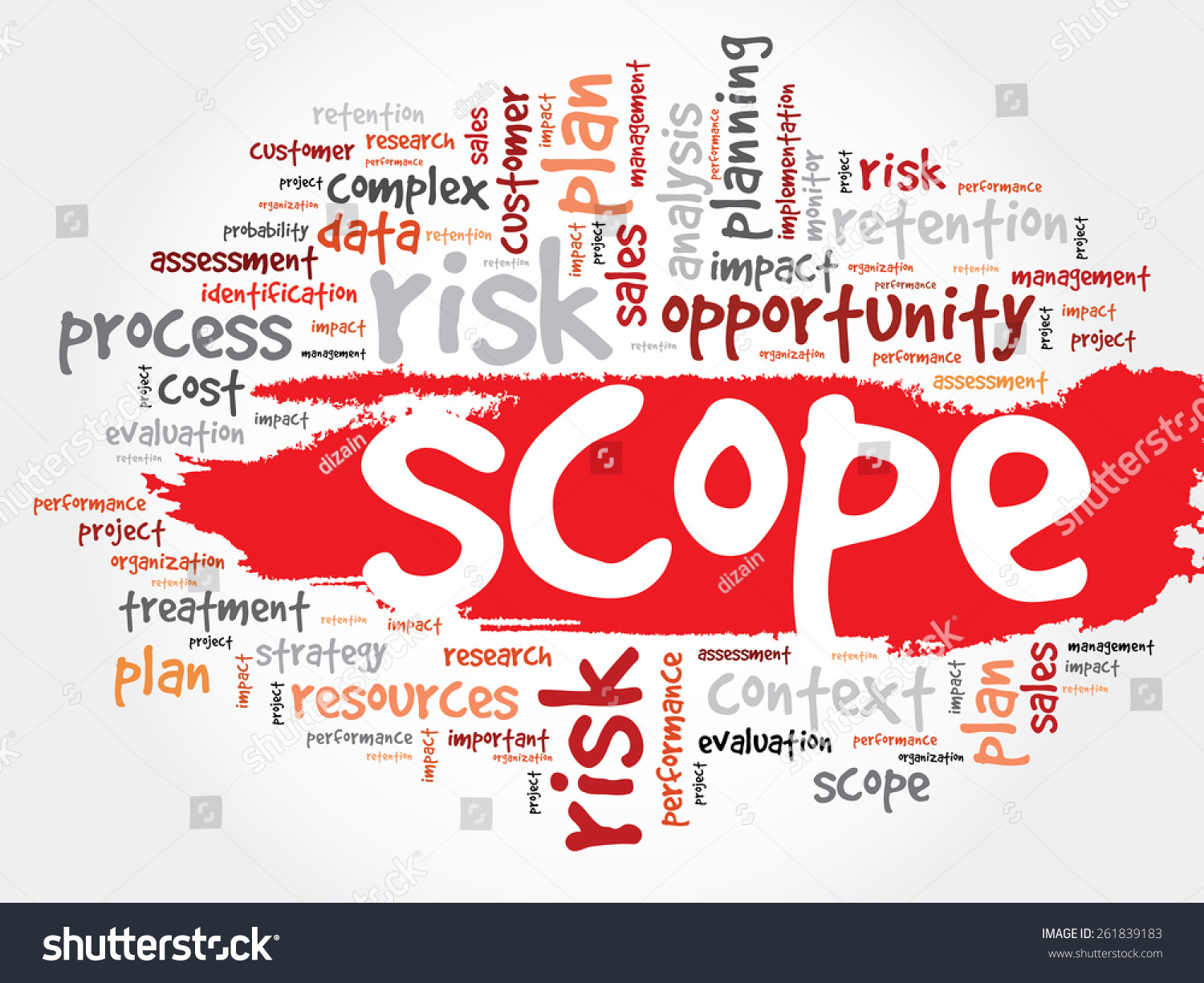 word cloud with scope related tags  business concept stock