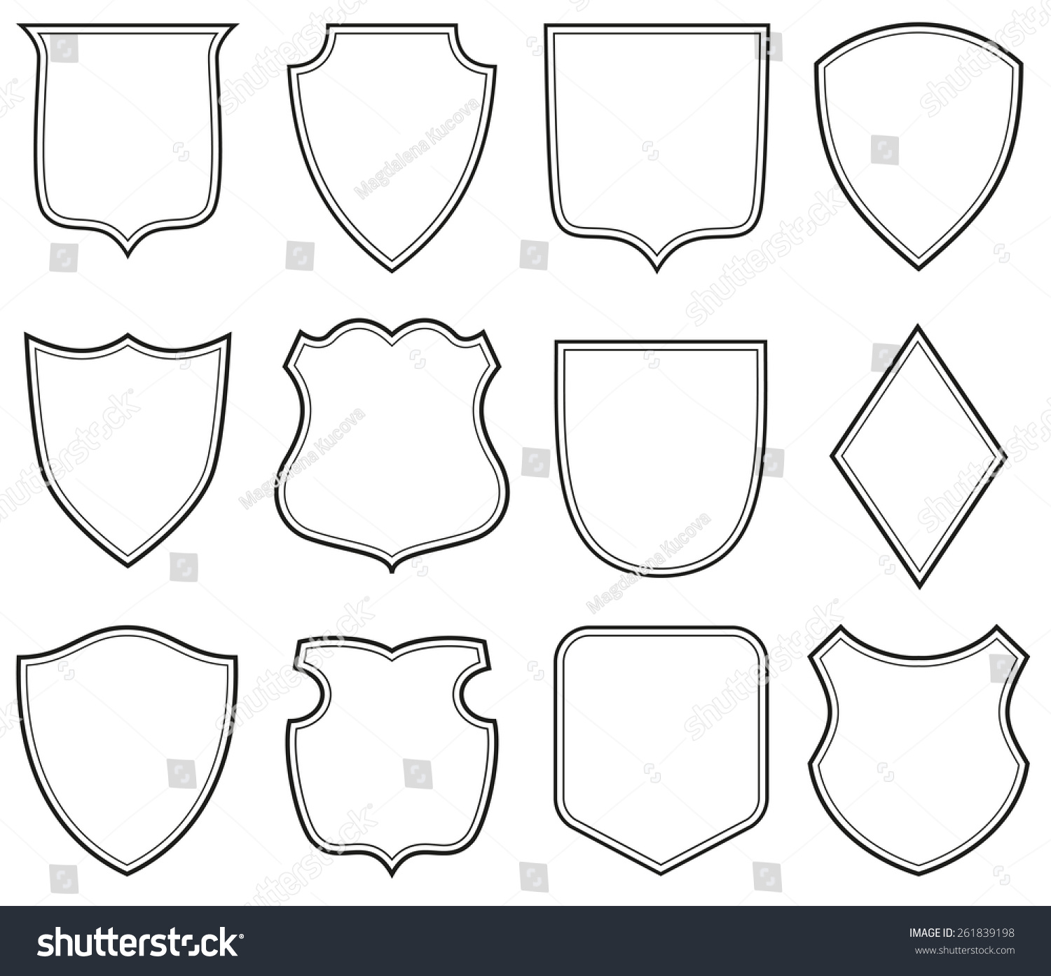 Collection Heraldic Shield Shapes Stock Vector 261839198 - Shutterstock