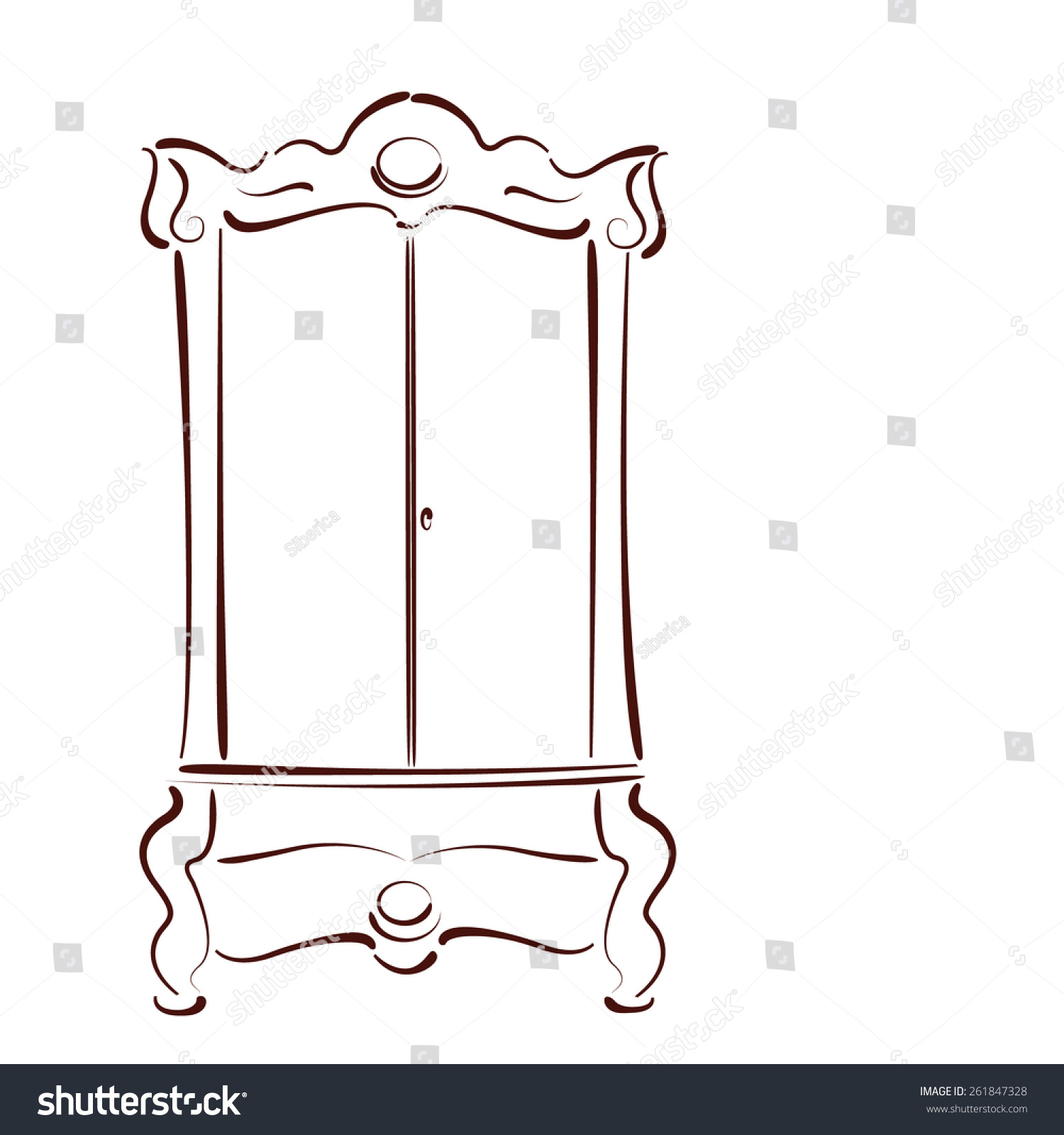wardrobe template. sketched vintage wardrobe isolated on white background design template for label banner postcard