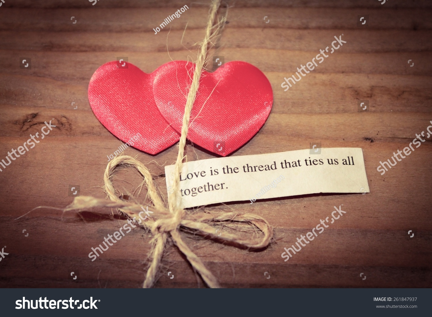 Two Hearts Tied Together Quote Love Stock Photo Edit Now 261847937