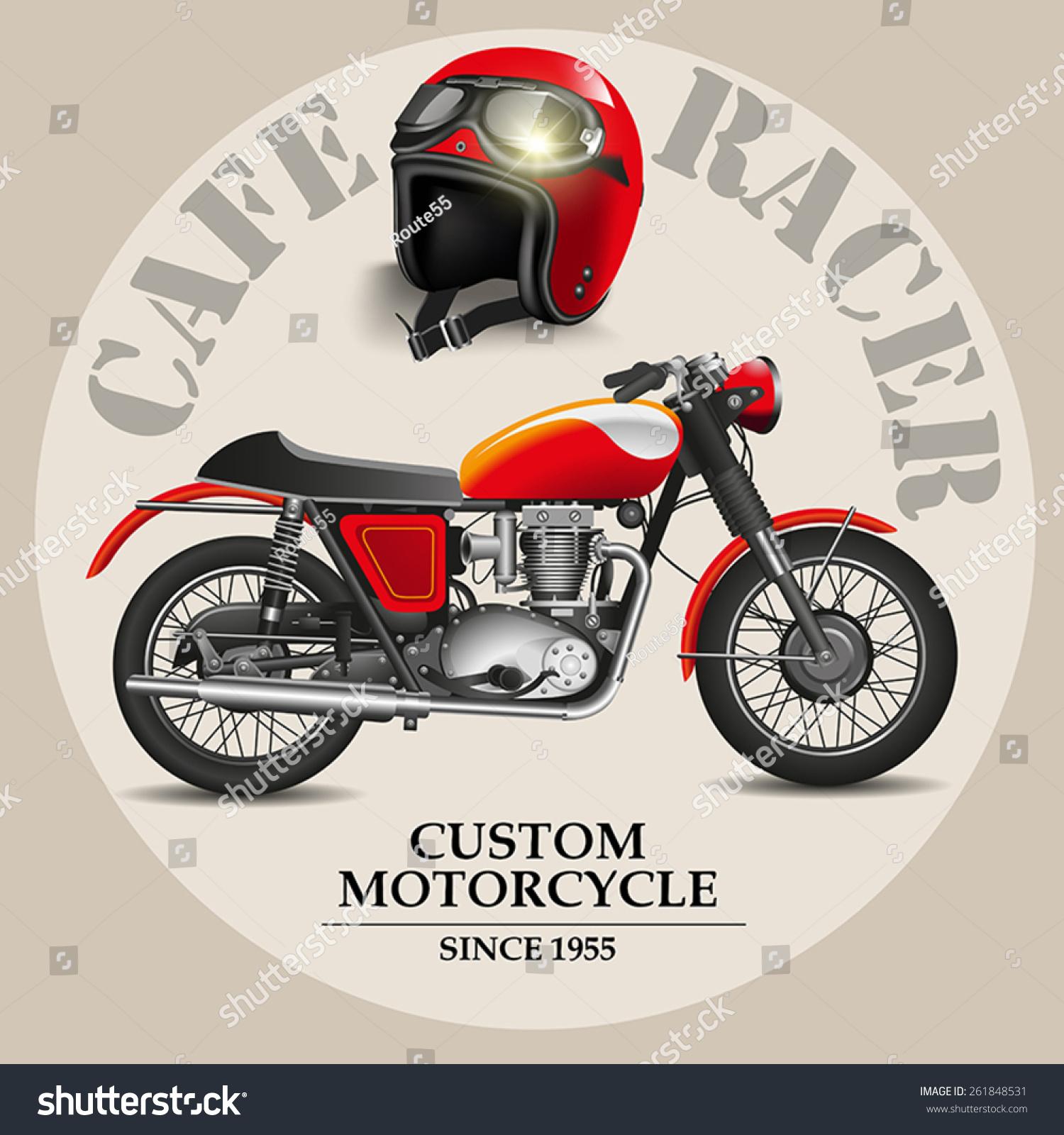 Vector De Stock Libre De Regalias Sobre Moto Estilo Cafe Racer Con Casco261848531