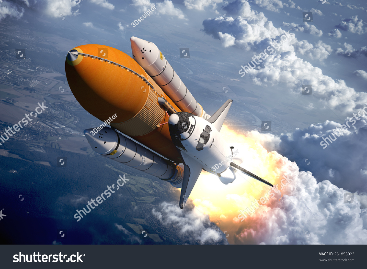 Space shuttle flying over clouds 3d stock illustration for Flying spaces