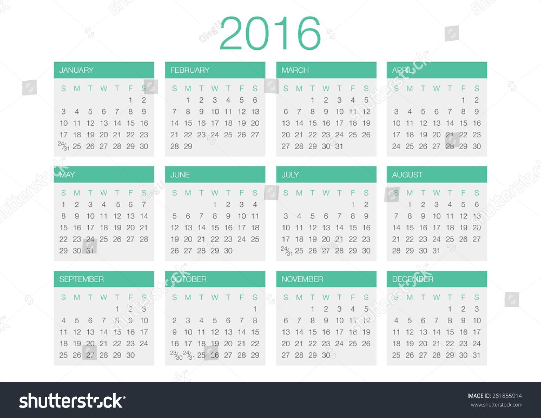 Calendar Template Vector : Calendar vector template stock