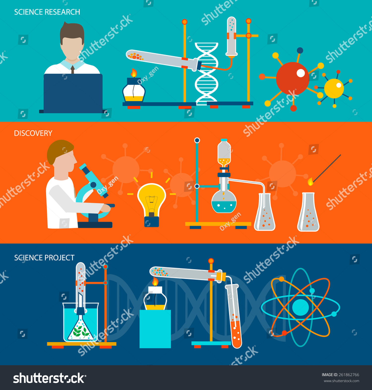 Science Design Project: Science Research Chemical Laboratory Horizontal Banners