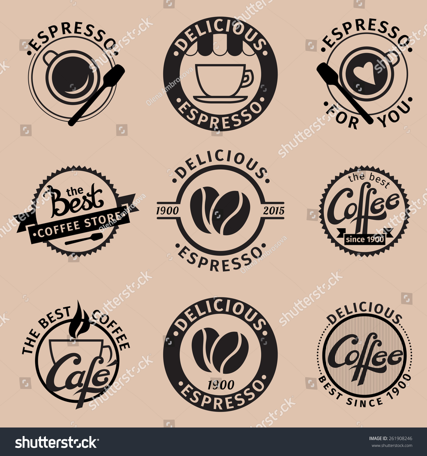 set hipster icons coffee theme stock vector royalty free 261908246