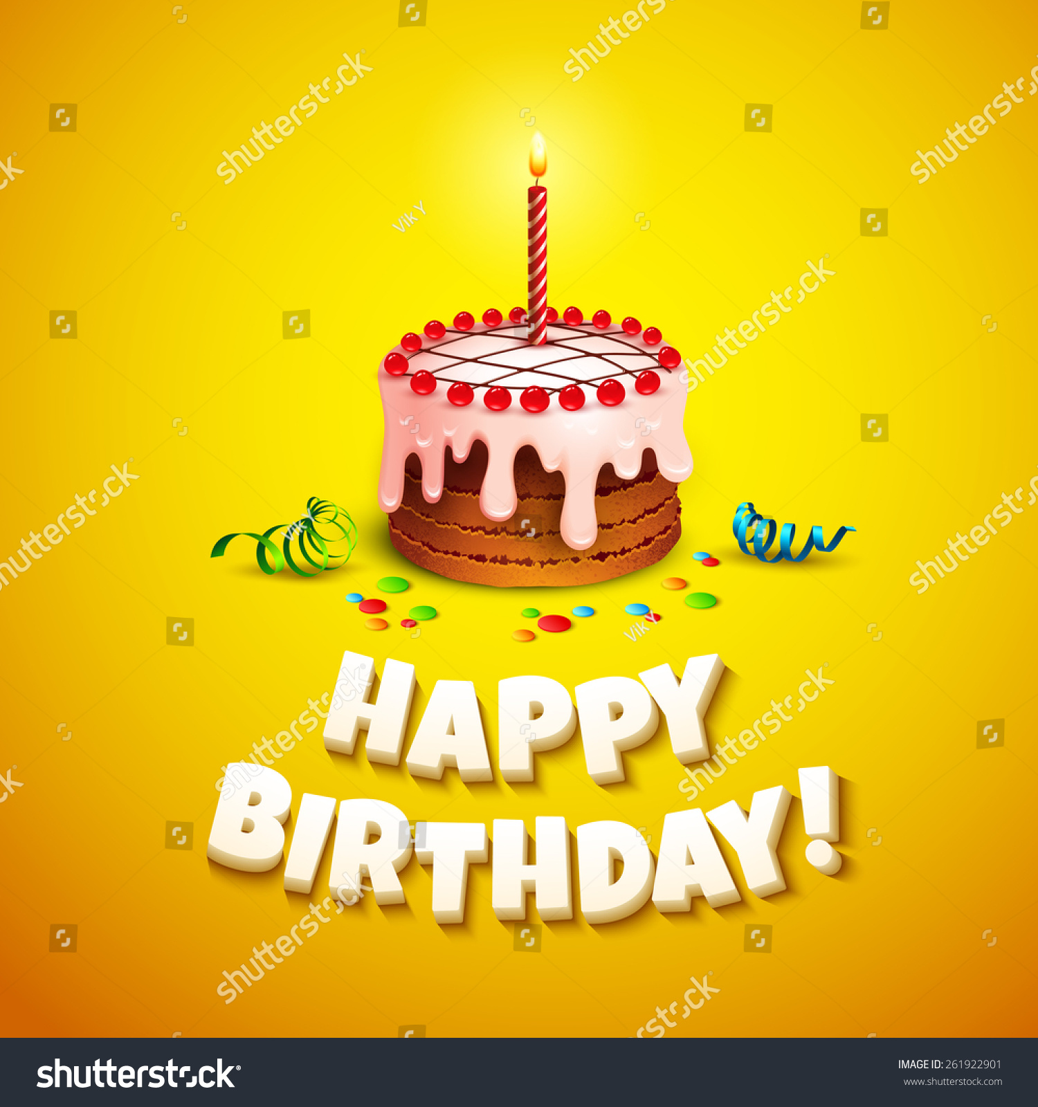 Happy Birthday Greeting Card Cake Vector Stock Vector 261922901