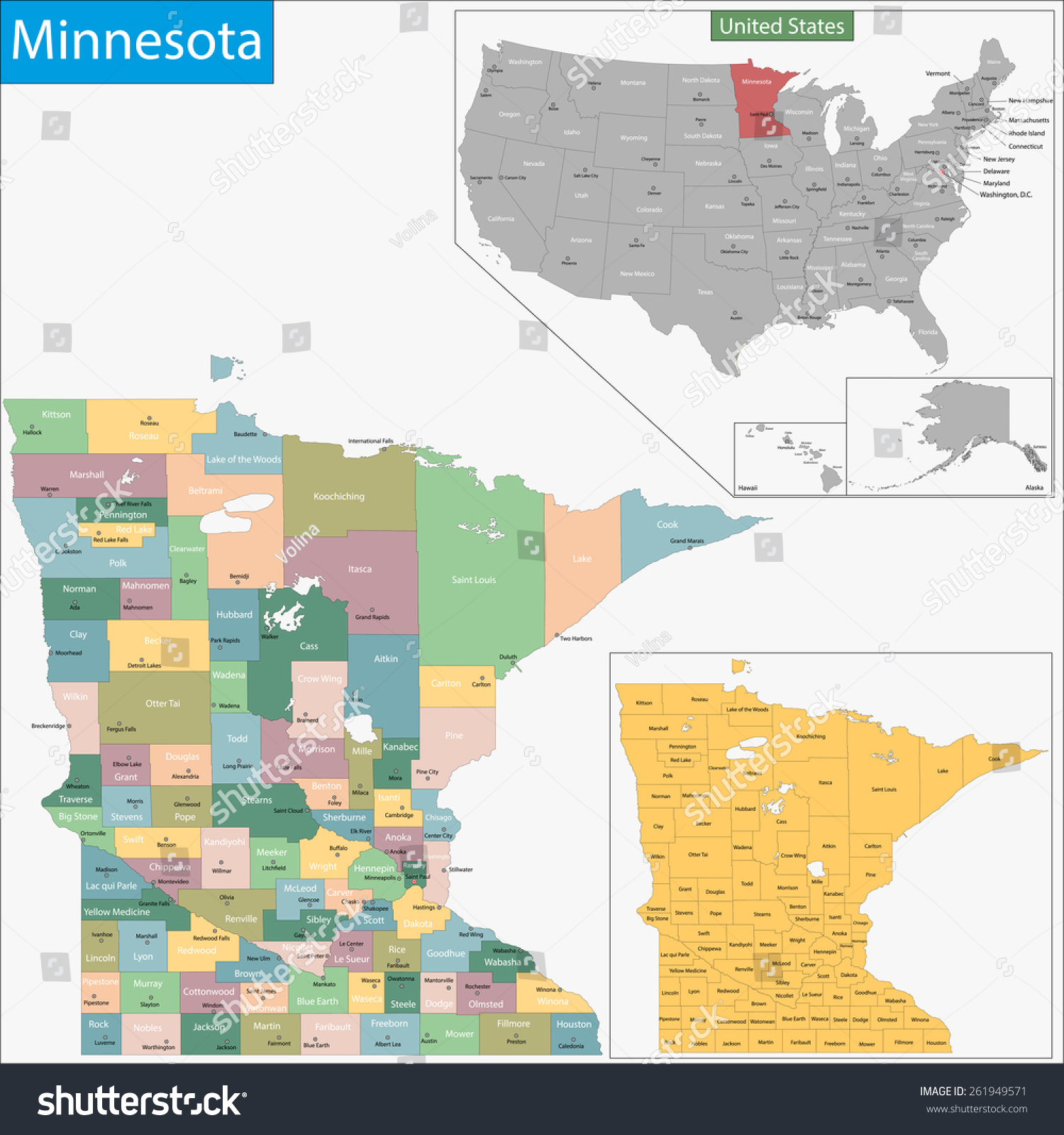 Map Minnesota State Designed Illustration Counties Stock Vector - Map of minnesota