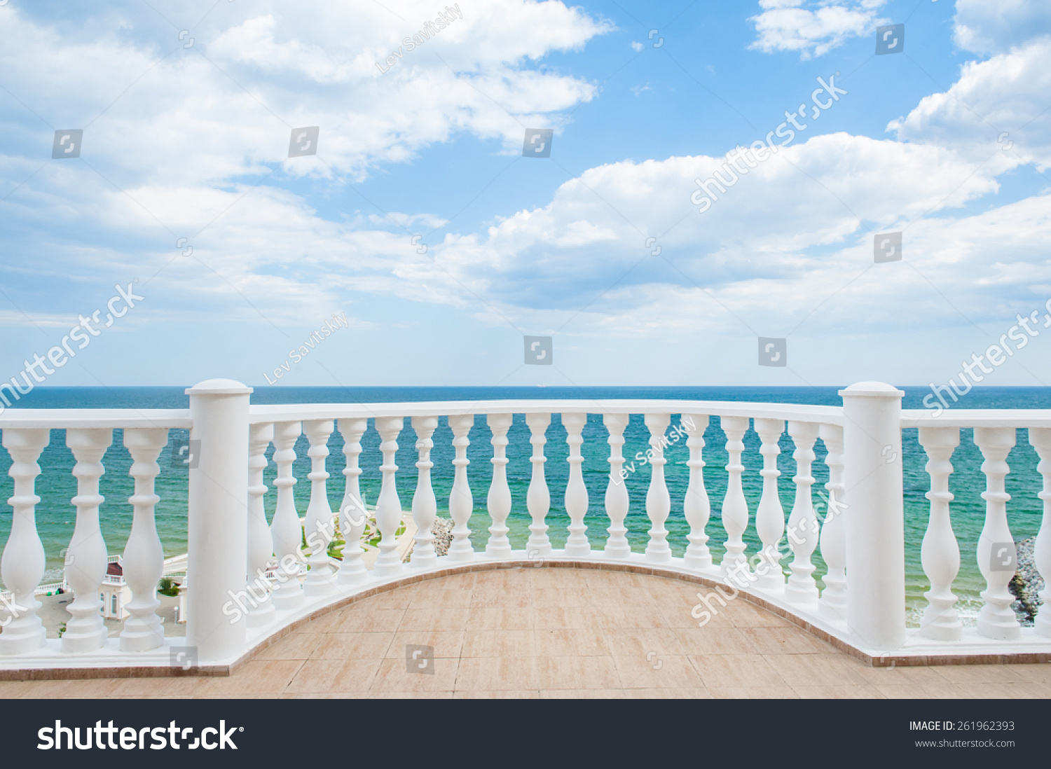 Balcony view on the sea shore on a sunny day stock photo for From the balcony