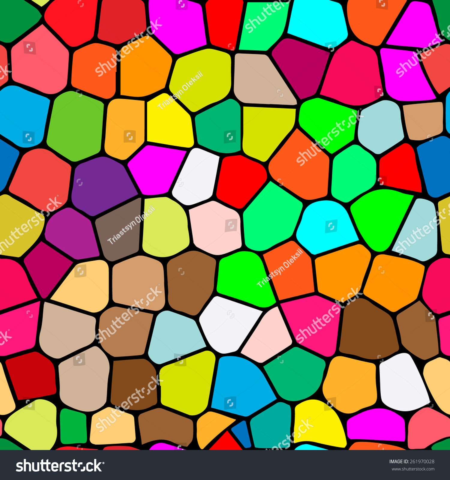 Multi Colored Stained Glass Illustration Seamless Stock Vector