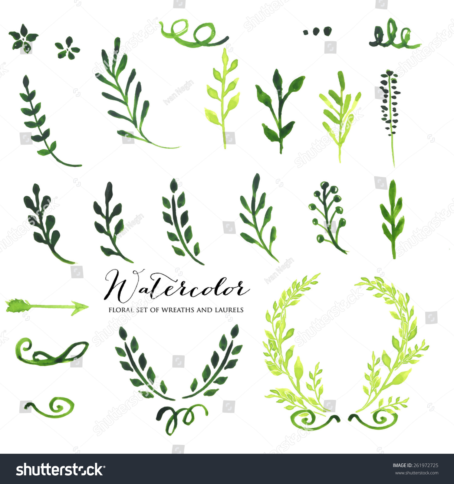Of Wreaths Watercolor Vintage Floral Set Wreaths Laurels Stock Vector