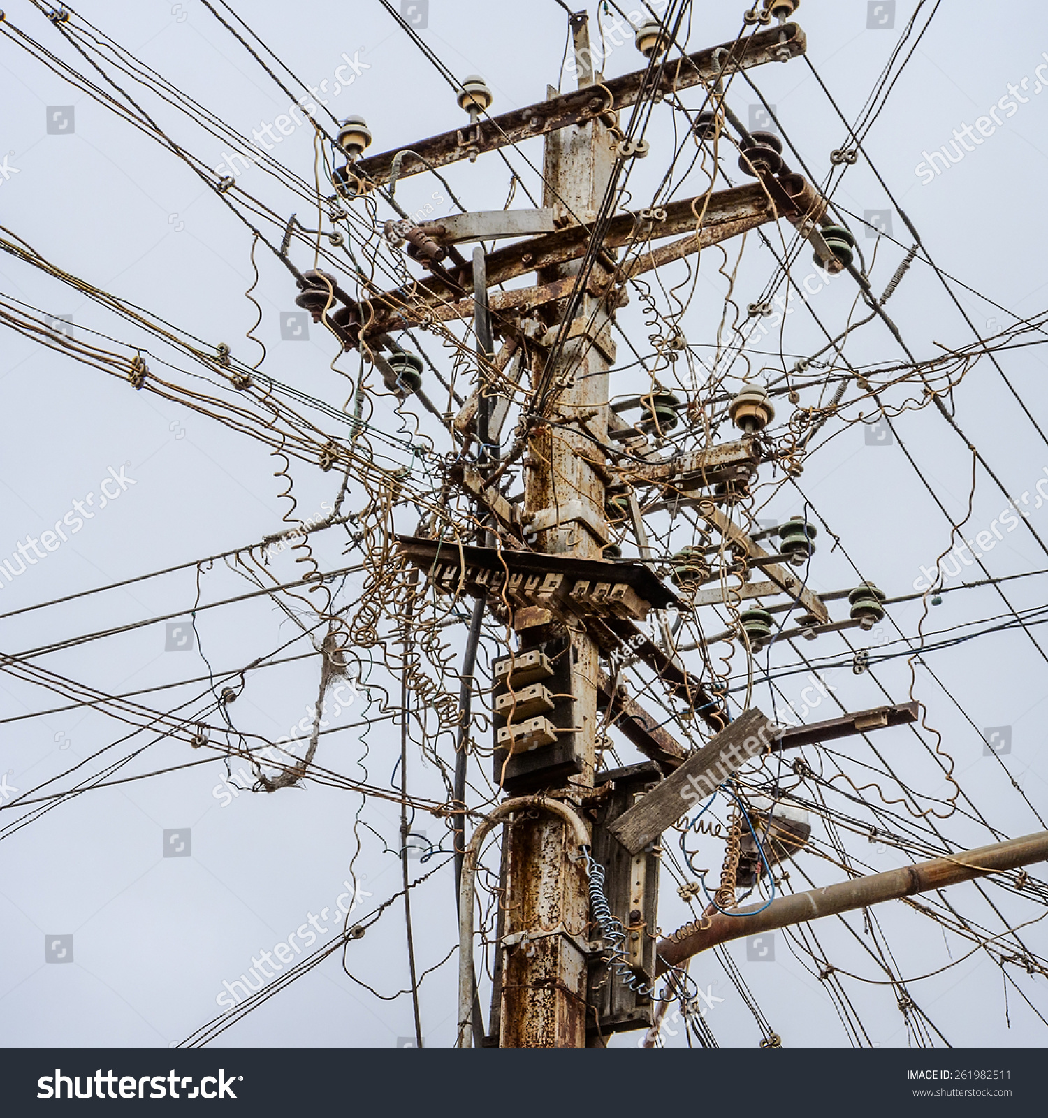 out focus messy electrical cables india stock photo 261982511