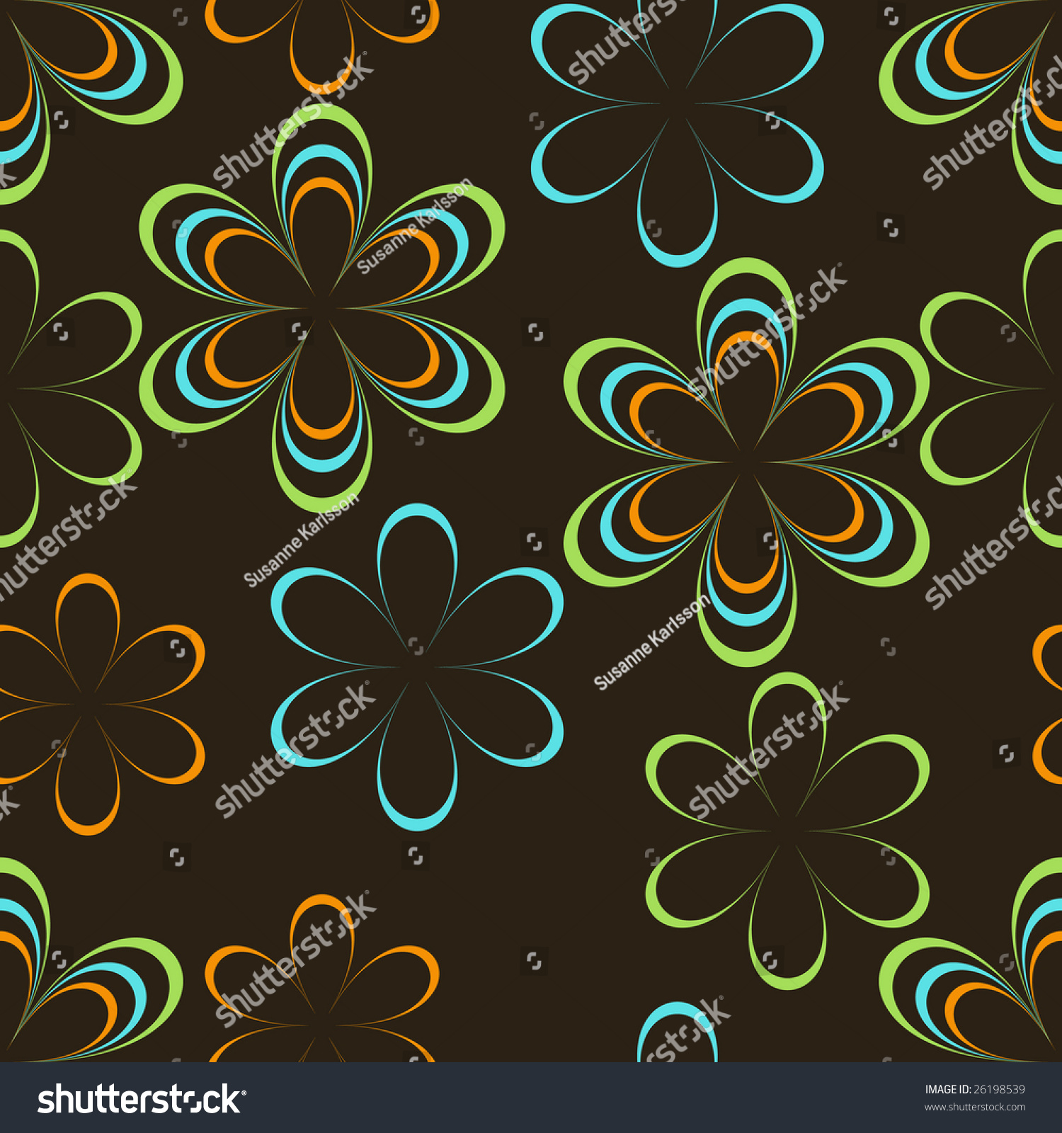 Line Art Flower Background : Colorful line art flowers seamless background pattern