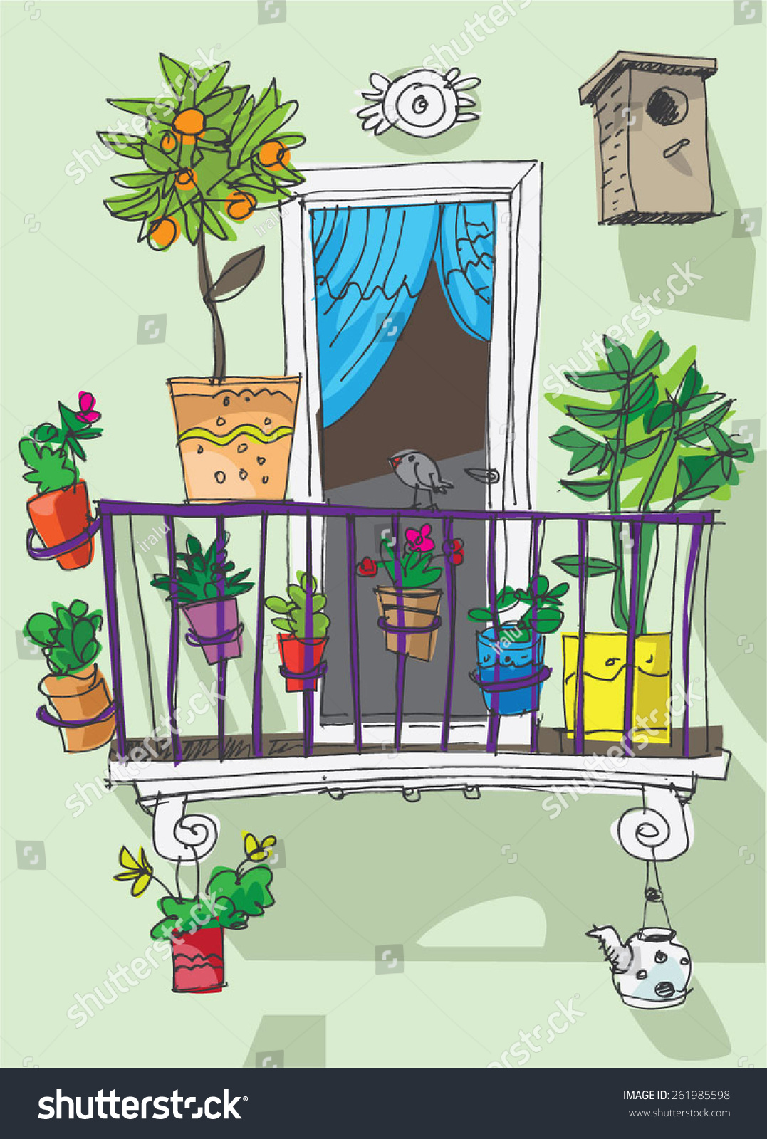 Cute cartoon clipart 69.cute balcony cartoon stock vector ir.