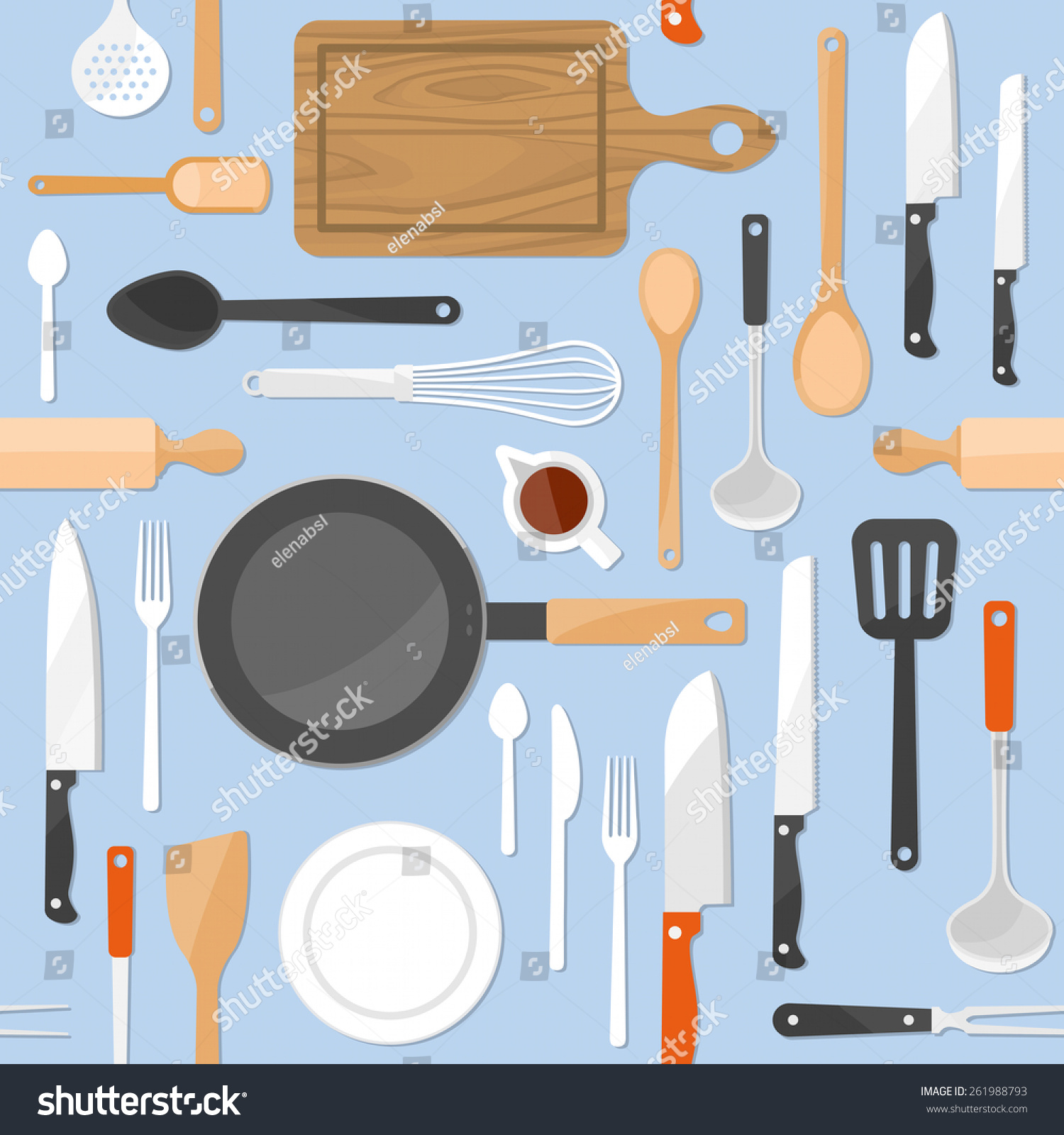 Kitchen Tools Seamless Pattern Kitchenware Equipment Stock
