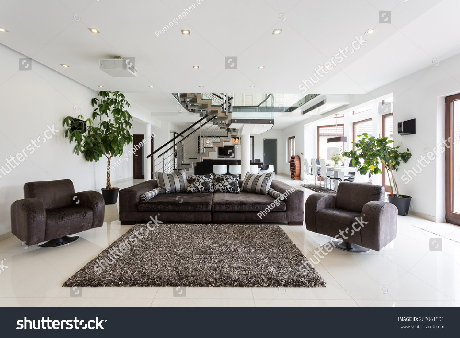 Modern Front Room With Marble Floor Stock Photo 262061501 ...