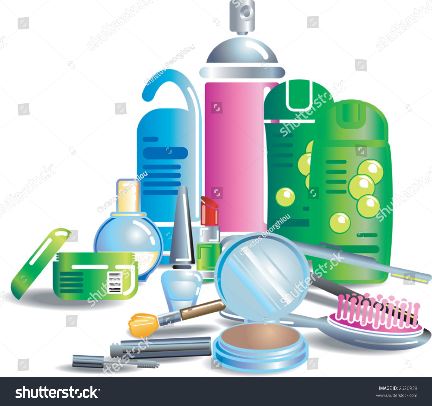 Cosmetics And Beauty Products Illustration Of Cosmetics And Other Bathroom Stuff Each Item Or Set