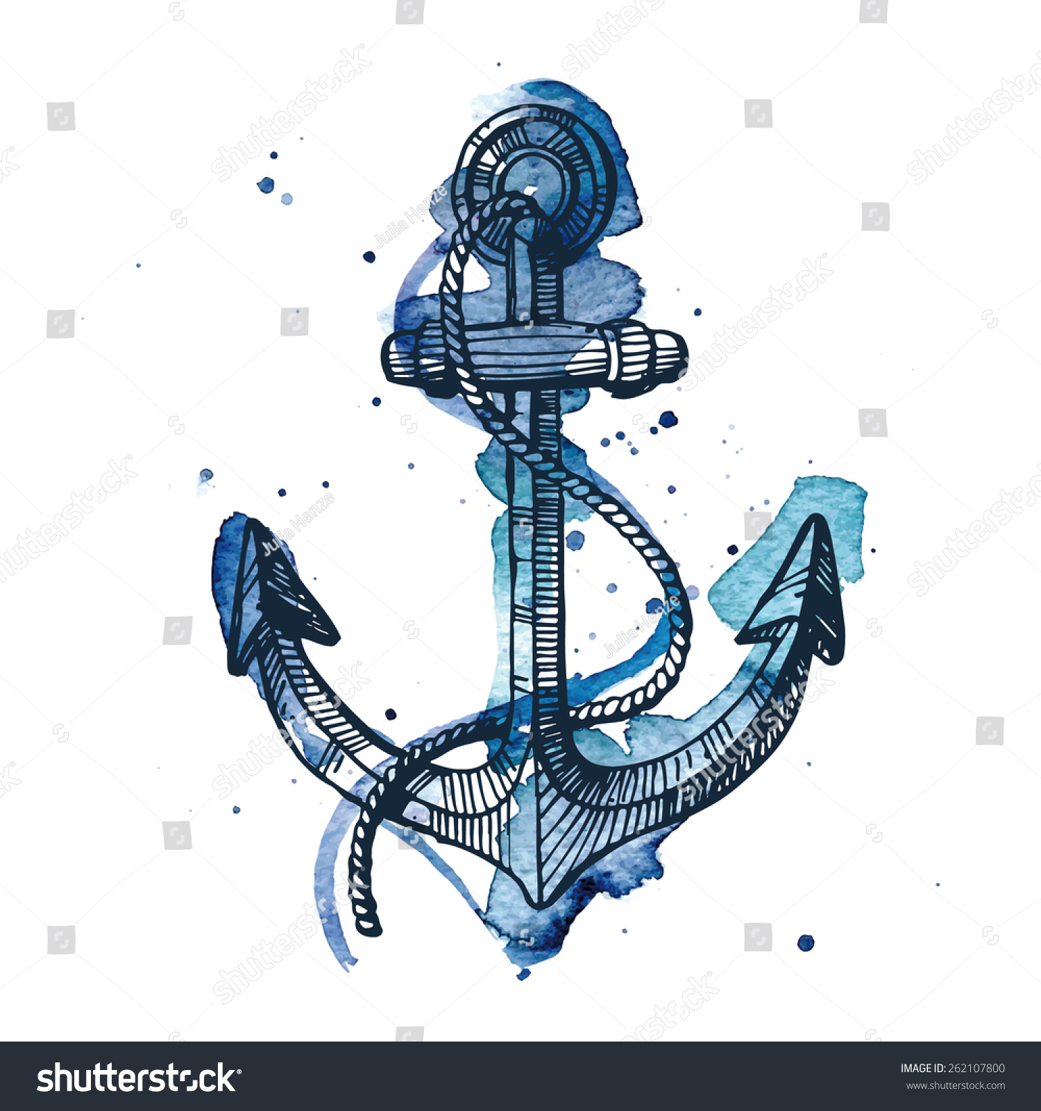 Watercolor And Ink Illustration Of An Anchor. The