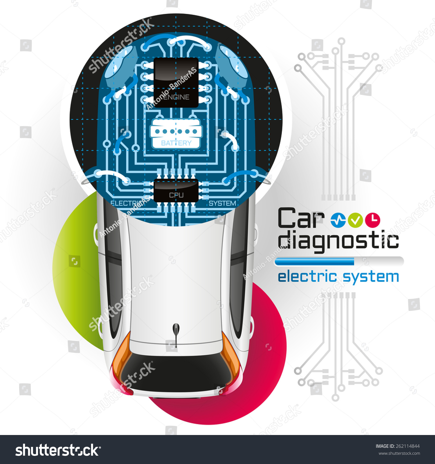 Diagnosis Electrical Components Car Form Printed Stock Illustration Circuit Boards With Clock Hands Royalty Free Image Of The In Board Is Illuminated