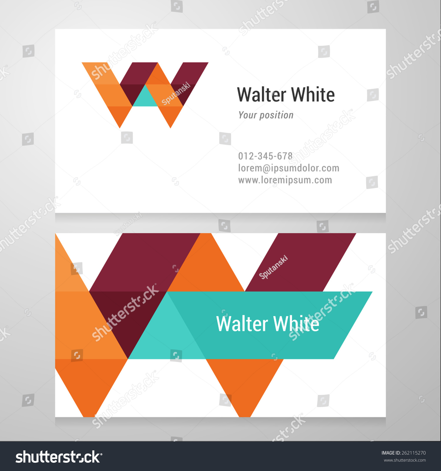 Modern Letter W Business Card Template Stock Vector