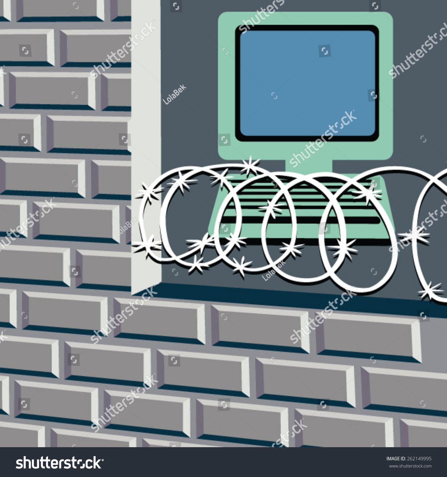 Computer Behind Razor Wire Brick Wall Stock Vector Royalty Free Wiring And