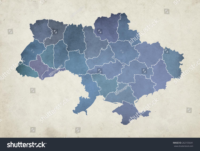Illustration Textured Map Administrative Divisions Ukraine Stock