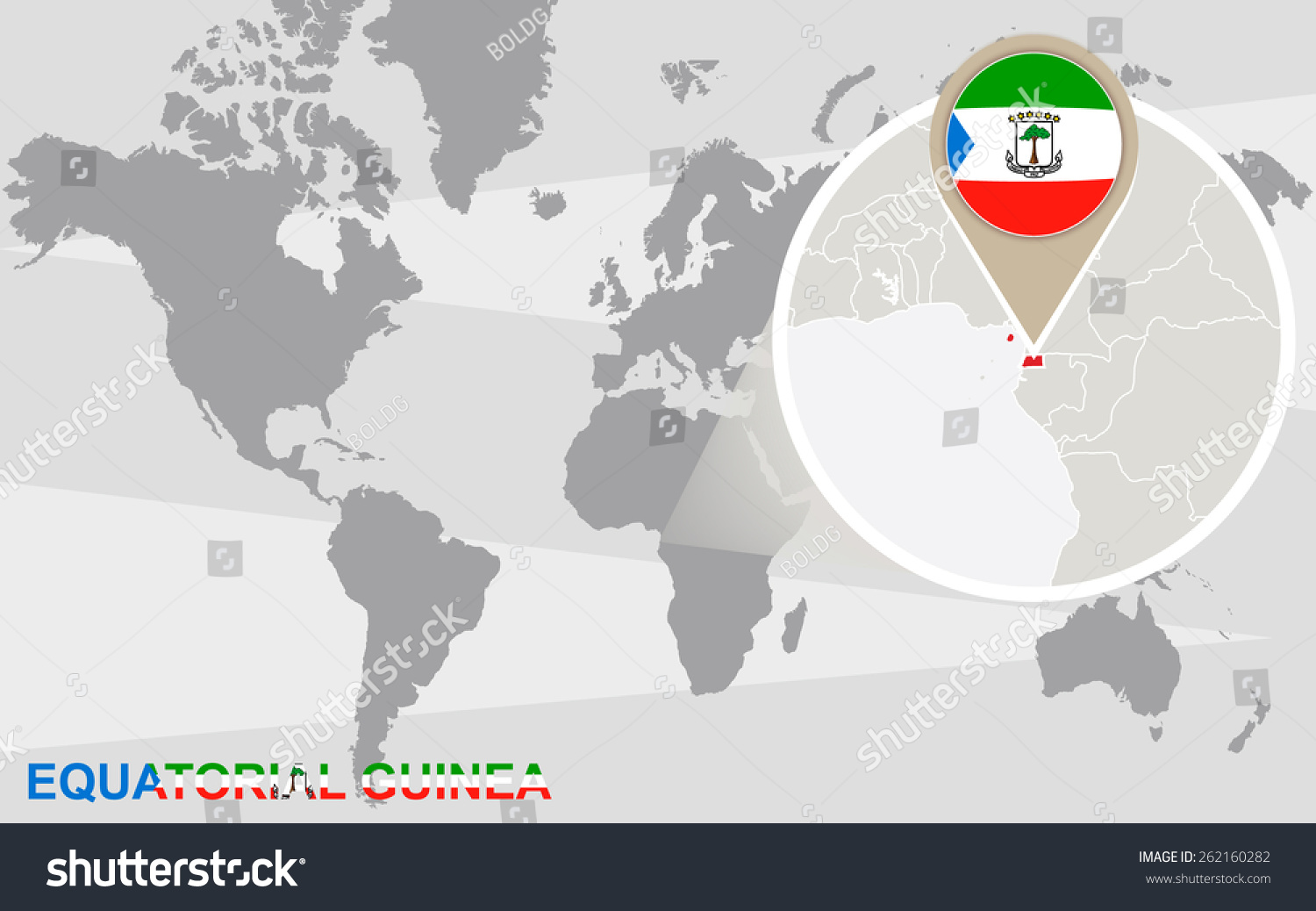 World Map Magnified Equatorial Guinea Equatorial Stock Vector ...