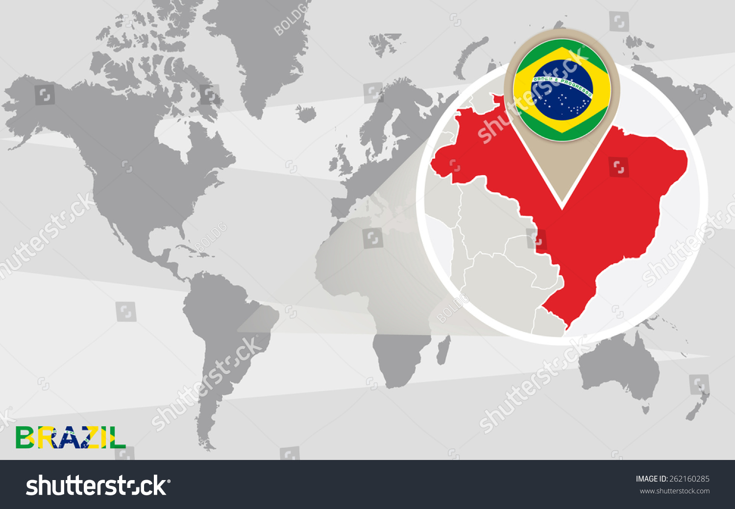 World map magnified brazil brazil flag stock vector 262160285 world map with magnified brazil brazil flag and map gumiabroncs Choice Image