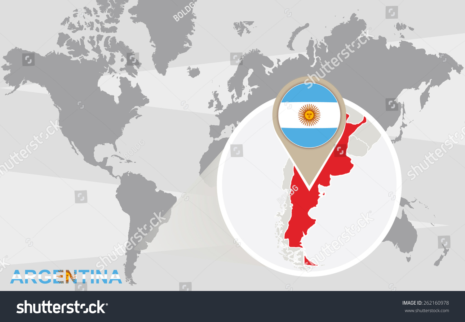 World map magnified argentina argentina flag stock vector world map with magnified argentina argentina flag and map gumiabroncs Gallery