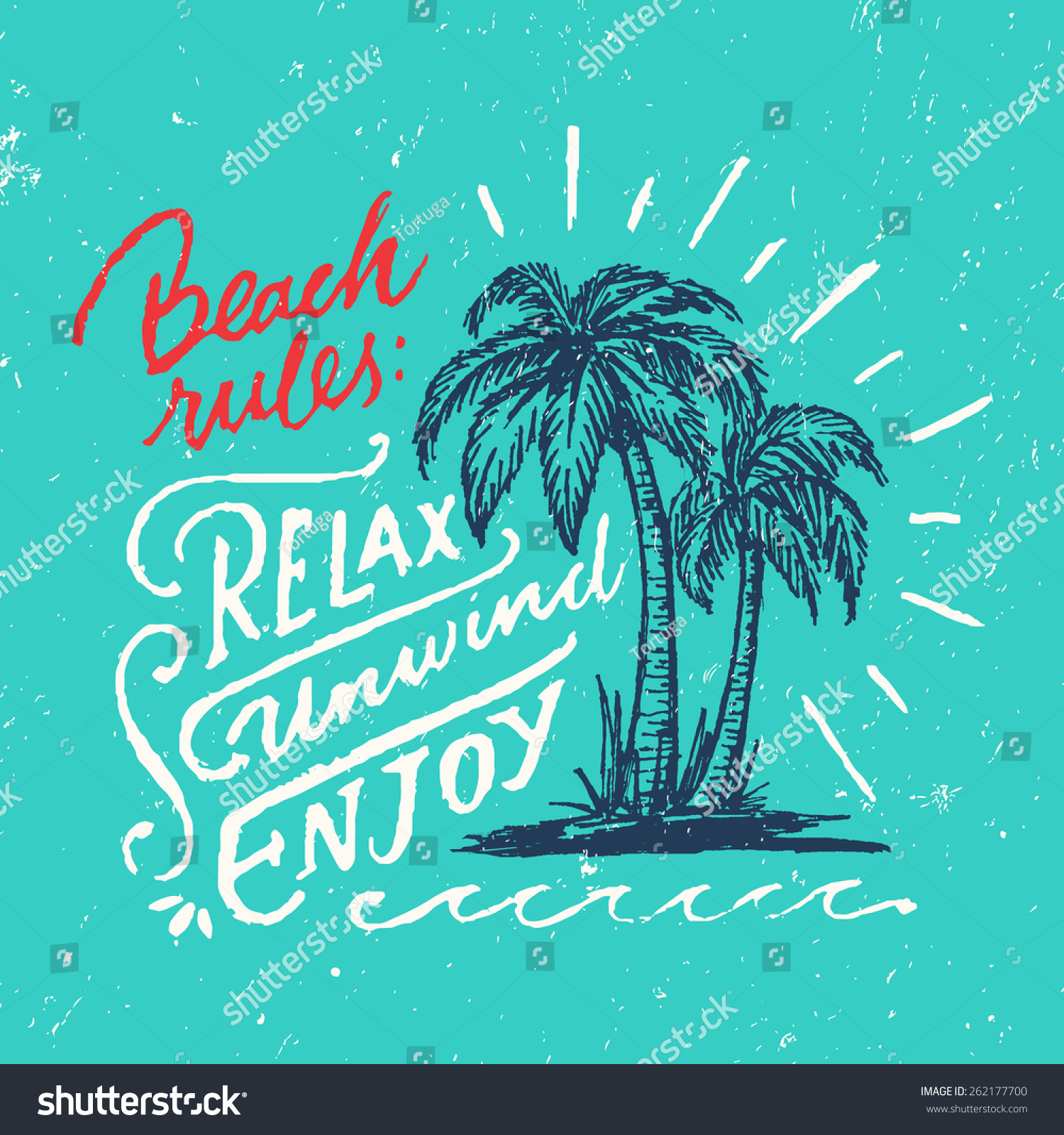 Beach Rules Relax Unwind Enjoy Handmade Royalty Free Stock