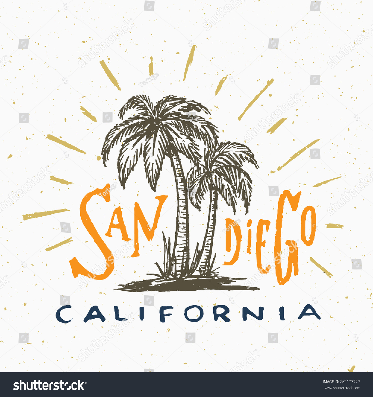 san diego california t shirt graphic stock vector