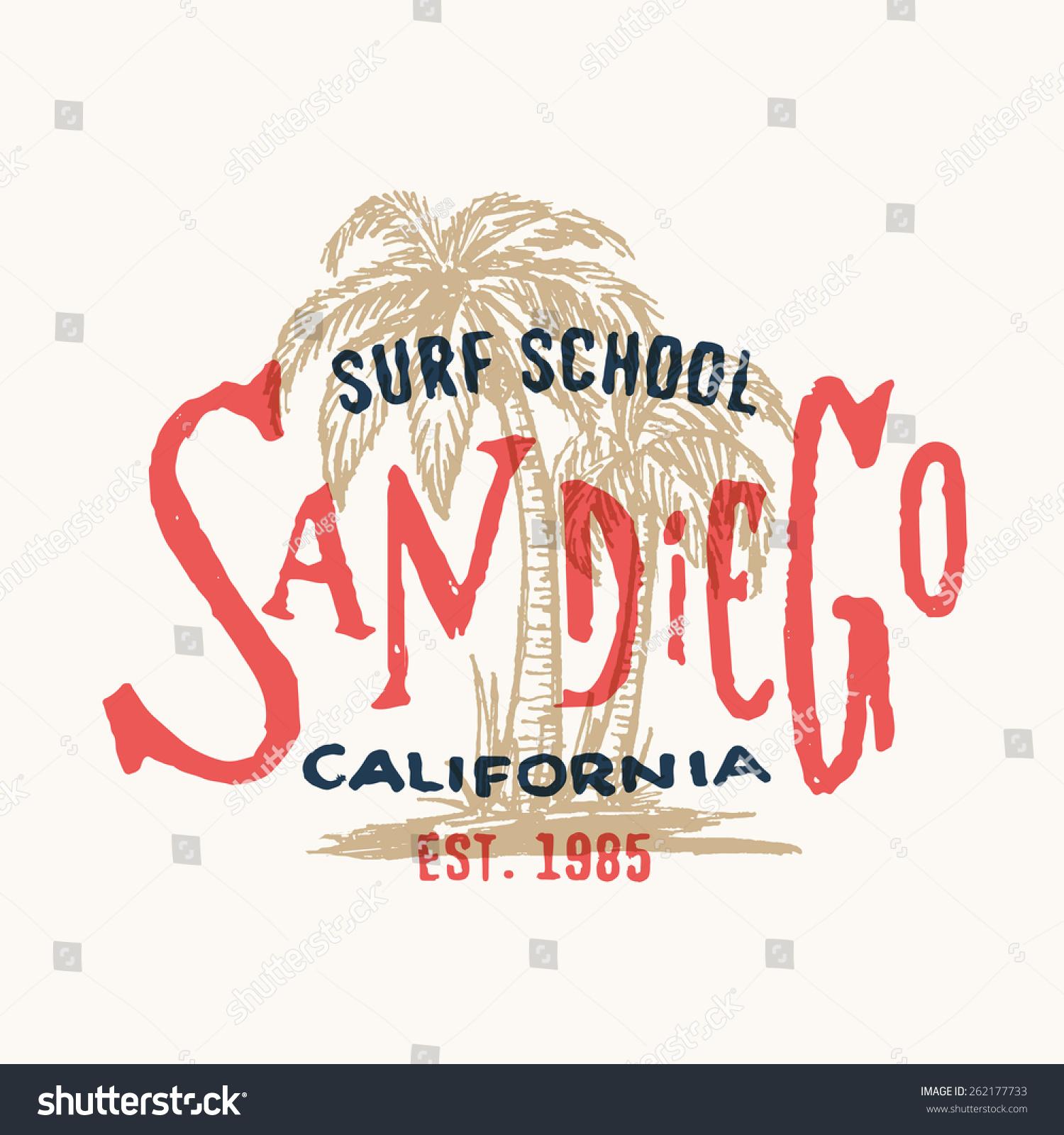San Diego California Surf School T Shirt Graphic Vintage