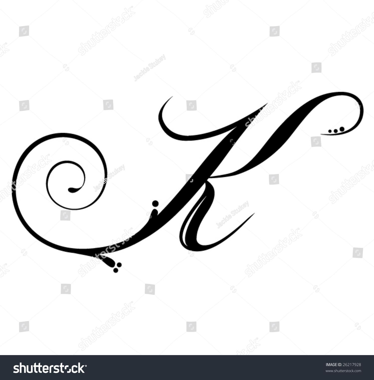 Convertidor De Letras Cursivas Para Tatuajes vector de stock (libre de regalías) sobre letra k