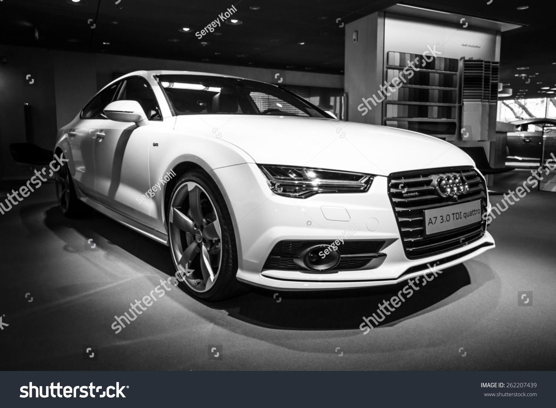 berlin march 08 2015 showroom executive car mid size luxury car audi a7 3 0 tdi quattro. Black Bedroom Furniture Sets. Home Design Ideas
