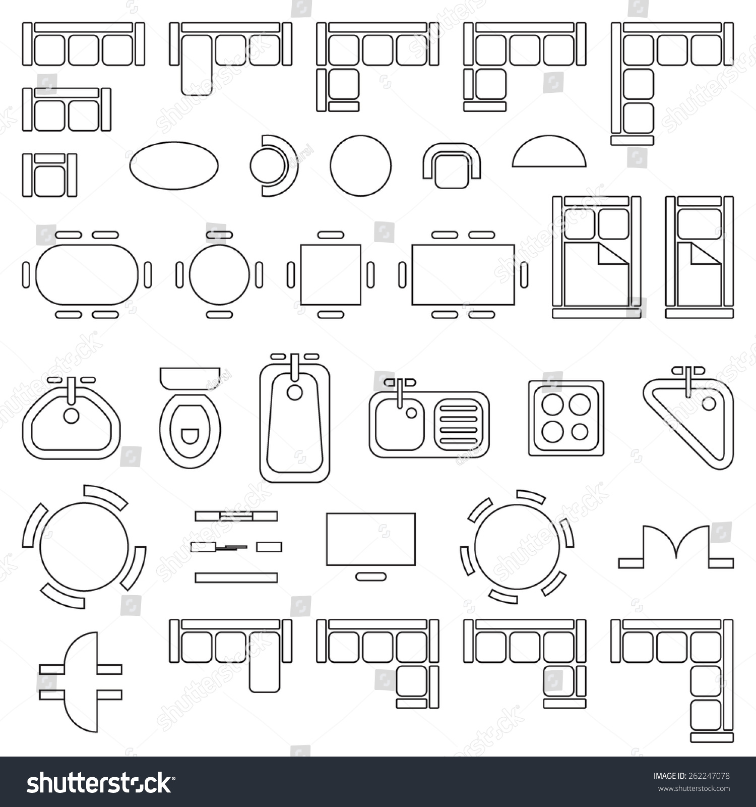 Standard Furniture Symbols Used In Architecture Plans Icons Set Graphic Design Elements