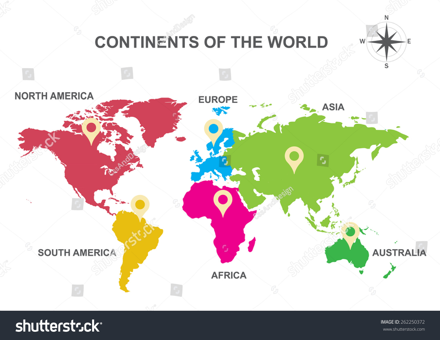 Continents world continents asia europe australia vectores en stock continents of the world continents asia europe australia south america gumiabroncs Images