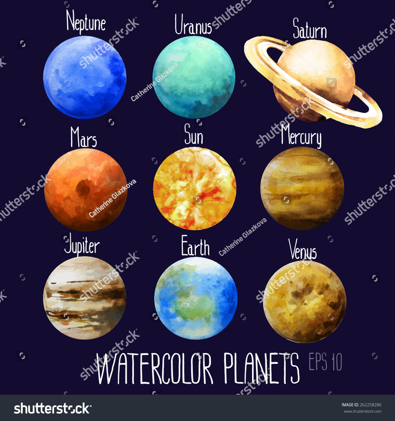 Watercolor Planets Sun Mercury Venus Earth Stock Vector ...