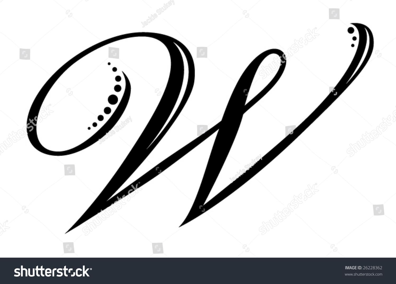 Letter W Script Stock Vector Illustration 26228362