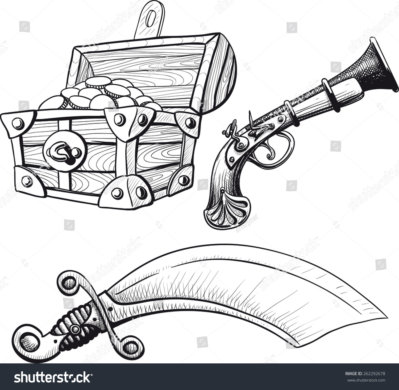 pirate treasure chest saber pistol stock vector 262292678