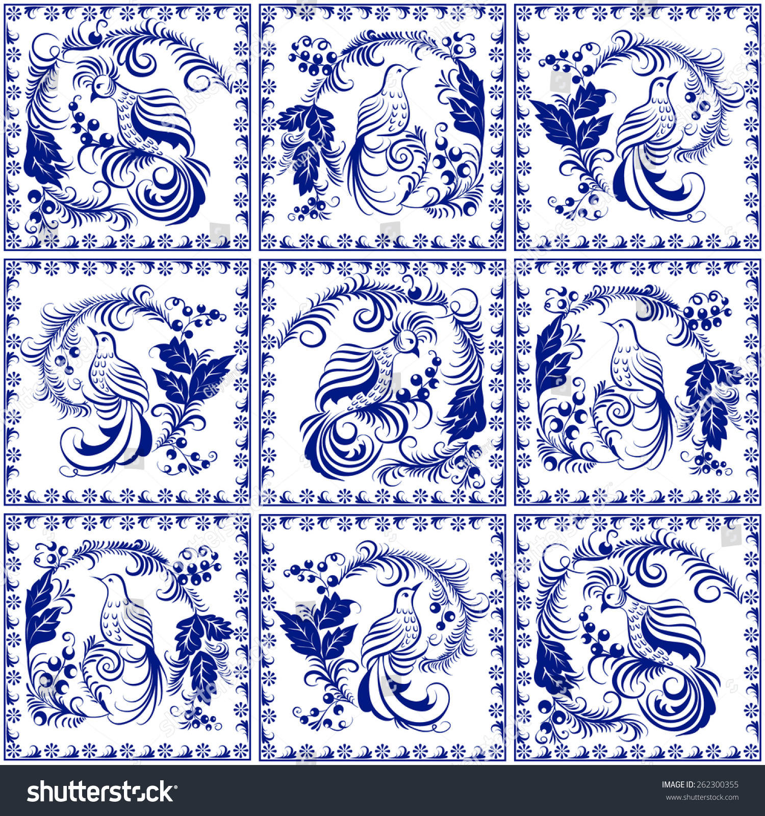 Seamless Pattern Made Illustrated Tiles Traditional Stock ...