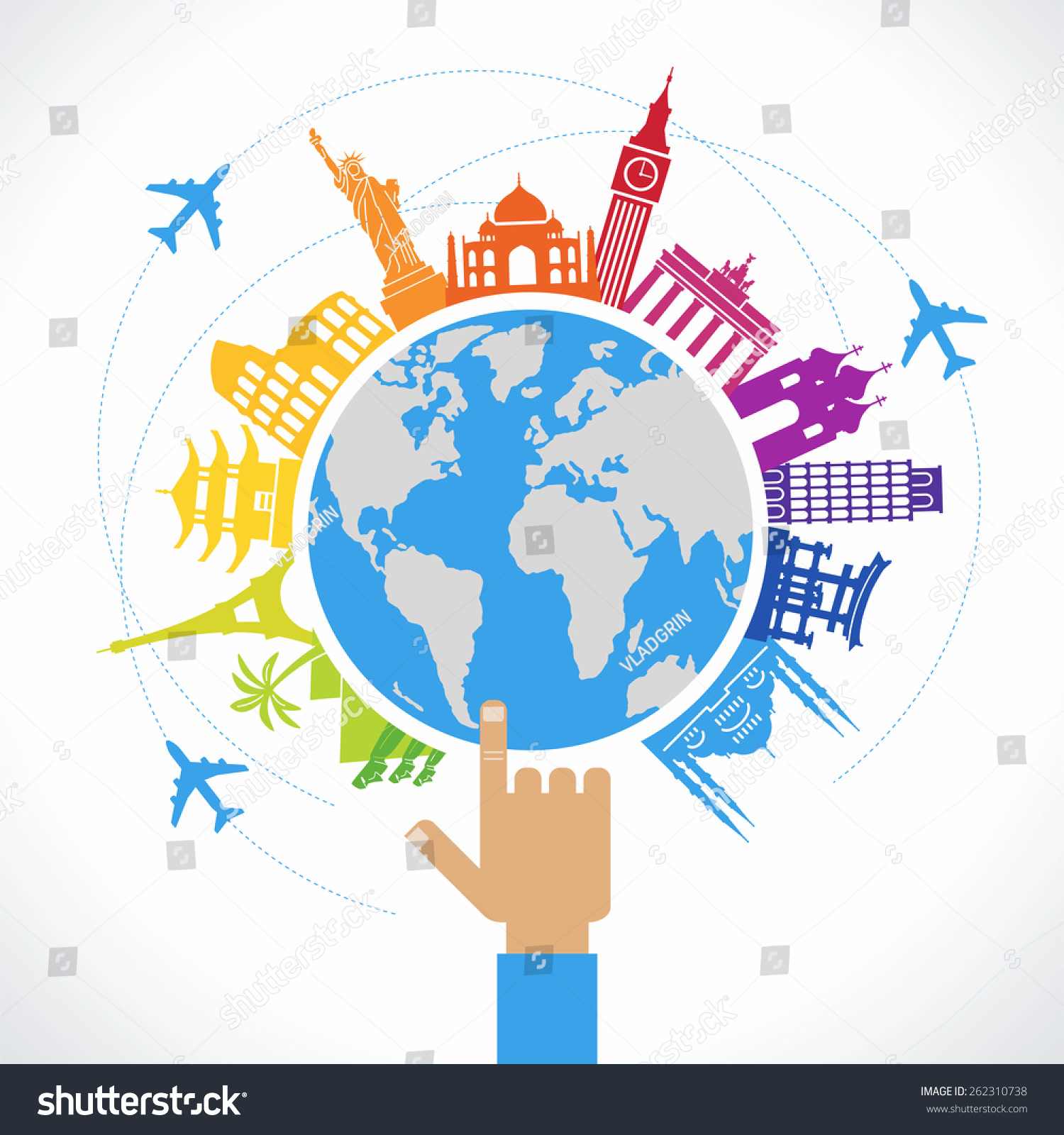 Travel concept flat design travel background stock vector 262310738 travel concept flat design travel background the hand of man shows a world map gumiabroncs Choice Image